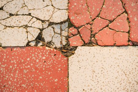 texture of floor concrete slabs white and red Stock Photo