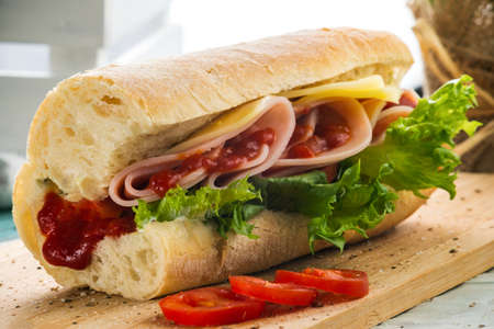 Ham and Cheese Sandwich with Red Sauce