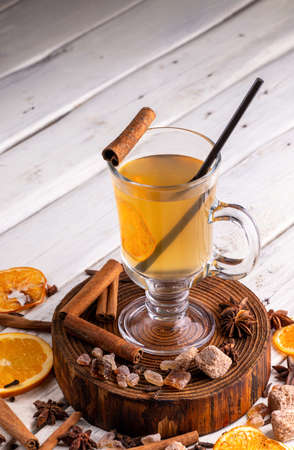 Glass of grog. Spicy warming Autumn and winter drink