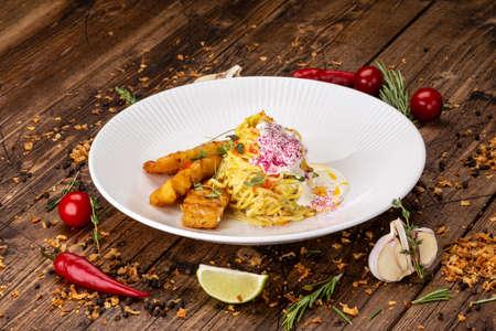 Italian delicious pasta with cod fish