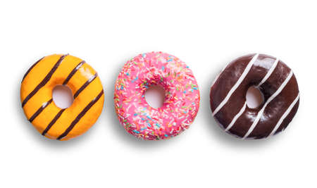 three multicolored donuts isolated on white background