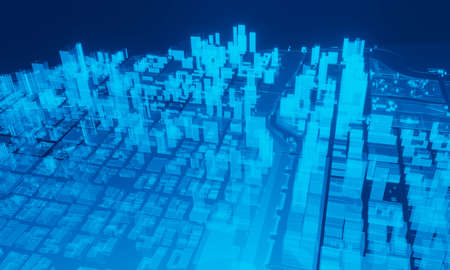 The future big city hologram