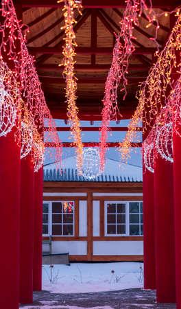 South korean new year. Christmas pagoda interior
