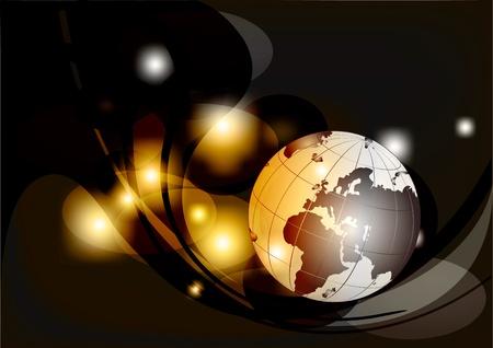 negocios internacionales: Globo sobre un fondo abstracto Vectores