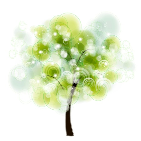 albero stilizzato: design della carta con alberi stilizzati e testo Vettoriali