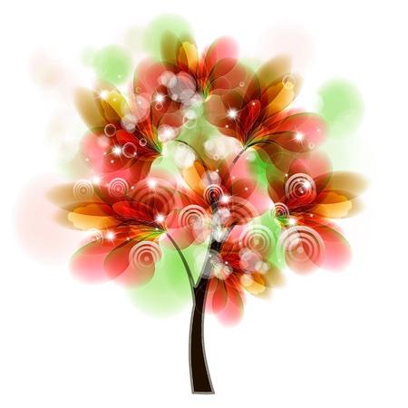 card design with stylized trees and text Ilustração