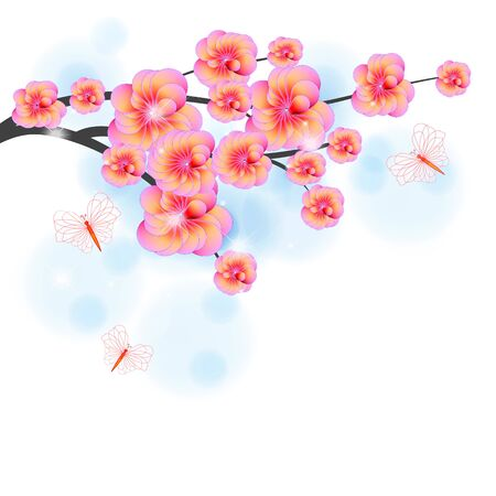 Branch of a tree with flower and butterflies Stock Vector - 12868661