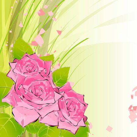 roses on a bright background Illustration