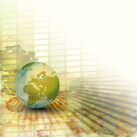Green globe icon  Ilustração