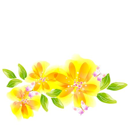 Flowers a bright background with butterflies are more transparent Vector