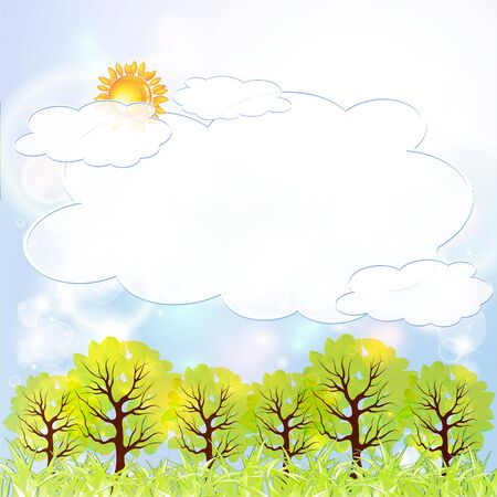 Sunny Meadow landscape of illustration Stock Vector - 14624148