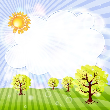 Sunny Meadow landscape of illustration Stock Vector - 14624147