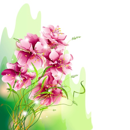 Flowers on bright a background Stock Vector - 17076024