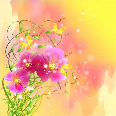 Flowers on bright a background     Stock Vector - 17169993
