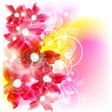Flowers on bright a background Stock Vector - 17451684