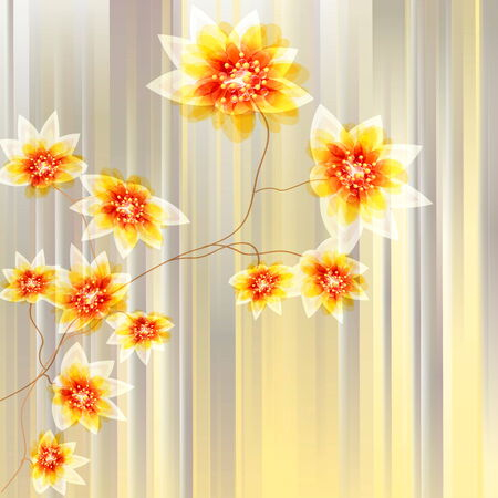 softly: Abstract flowers on an orange background