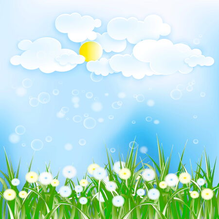 Sunny Meadow landscape of vector illustration Vector