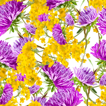 aster  seamless pattern Vector