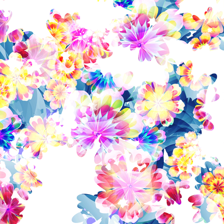 softly: Flowers on bright a background