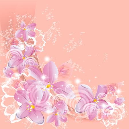 gentle fantasy flowers Vector