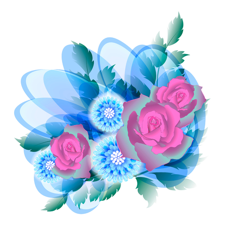 fantasy design of a bouquet with three roses Vector