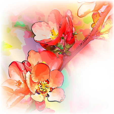 branch of flowers of an alcha with a place for the text Vector