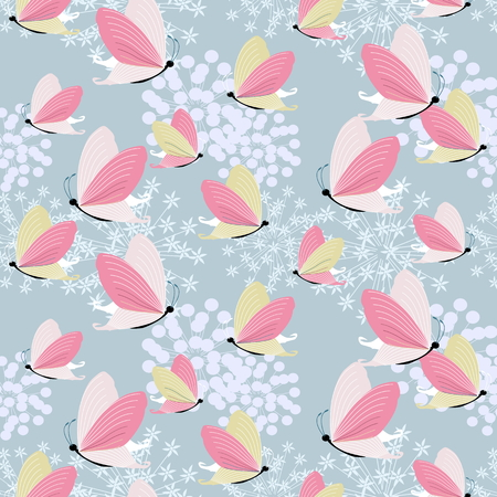 Vector a seamless sample the easy gentle butterflies soaring over a flower for textiles Vector