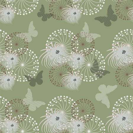 Vector a seamless sample fantasy flowers on a green background with butterflies Illustration