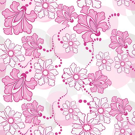 Vector seamless sample fantasy pink flowers