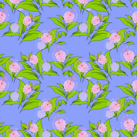 Vector a seamless sample fantasy flowers on blue a background