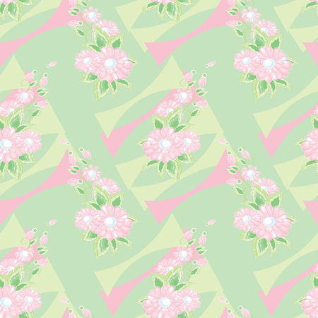 Vector a seamless sample fantasy pink flowers on a green background