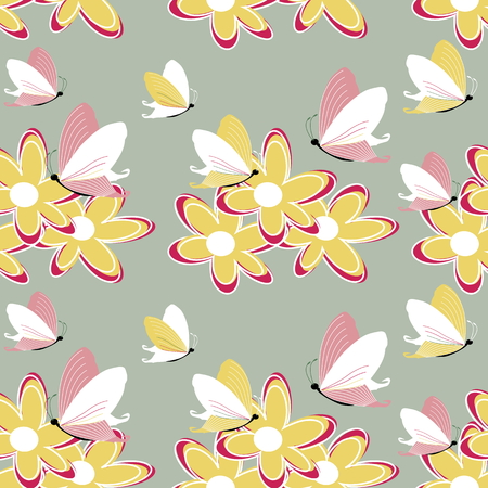 Vector a seamless sample the easy gentle butterflies soaring over a flower for textiles