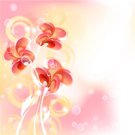 Floral fantasy design on a bright background.