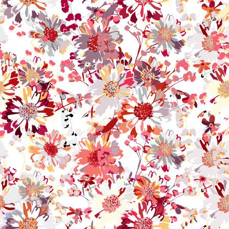 congratulatory: Sample dance of flowers for textiles. Illustration