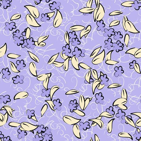 Small bouquets of flowers and fancy branches. Seamless pattern for use in design