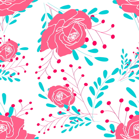 Small bouquets of flowers and fancy branches on a white background. Seamless pattern for use in design.