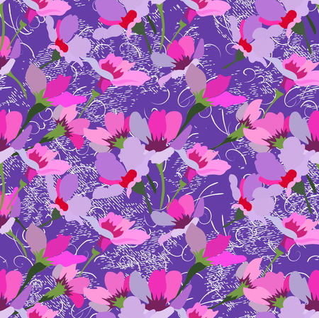 Small bouquets of flowers and fancy branches on a purple background. Seamless pattern for use in design.