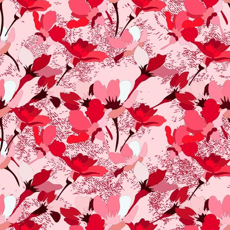 Small bouquets of flowers and fancy branches on a pink background. Seamless pattern for use in design. Illustration