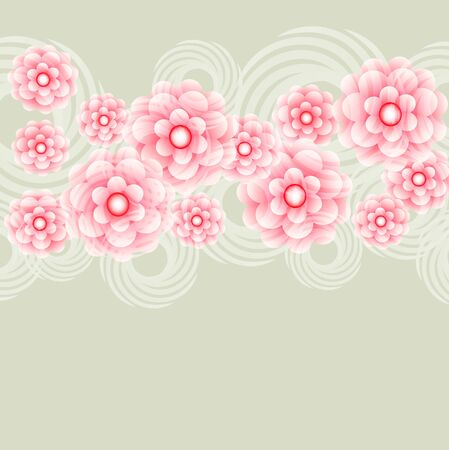 Transparent Pink fantasy flowers. Application on greeting cards