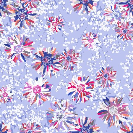 Small bouquets of flowers and fancy branches. Seamless pattern for use in design.