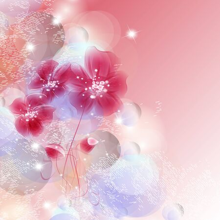 Floral fantasy design on a bright background
