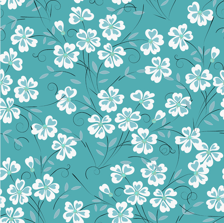 Abstract, yellow background with flowers for design use, seamless pattern Ilustração