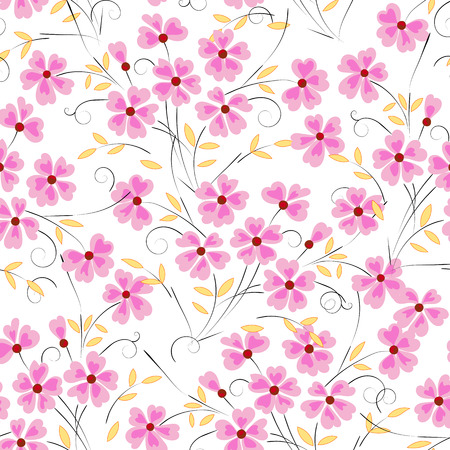 Abstract, yellow background with flowers for design use, seamless pattern Illustration