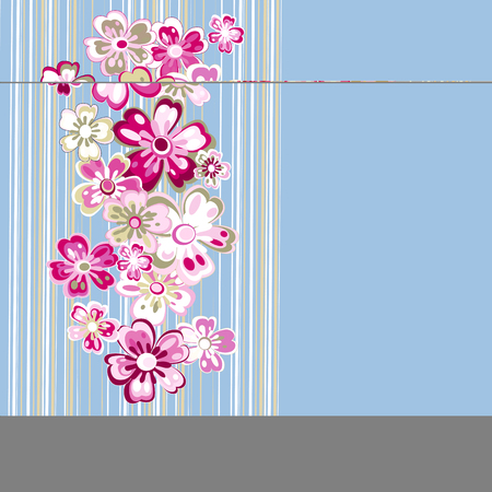 Bright, pink, abstract flowers on a blue background
