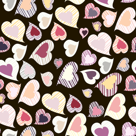Vector seamless pattern with many colored hearts for textiles