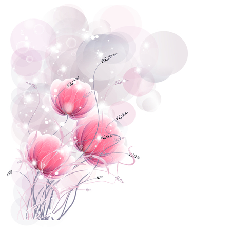 Floral fantasy of gently pink flowers, design on bright
