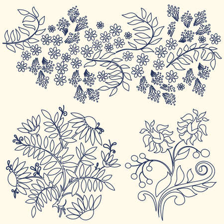 Flowers ornament icon, vector set