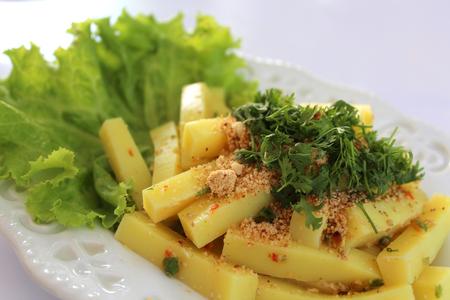 Yellow Tofu Salad. Burmese Style or Shan Style.