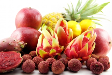 Tasty exotic tropical fruits photo