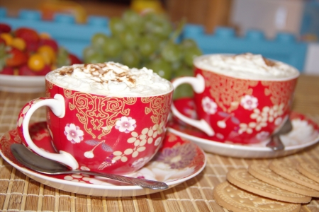 Two cups of cappuccino with cream Stock Photo - 14637506